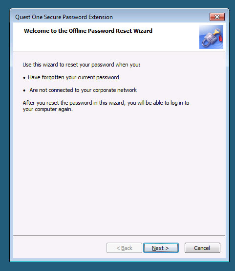Quest One Secure Password Extension Wizard